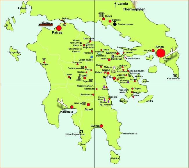 Karte Griechenland Peloponnes.Peloponnes